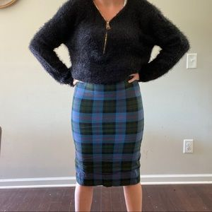 Zara Plaid High Waisted Midi Pencil Skirt Lined